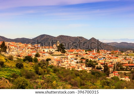 Typical Cyprus village in the Troodos Mountains. - stock photo