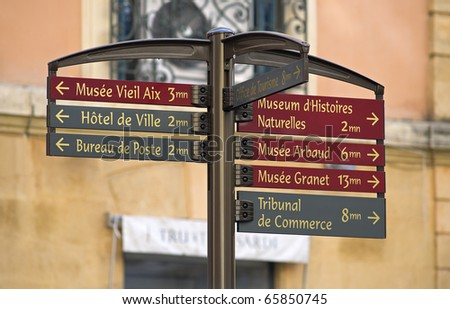"""Typical direction sign in """"Aix"""" in South France - stock photo"""