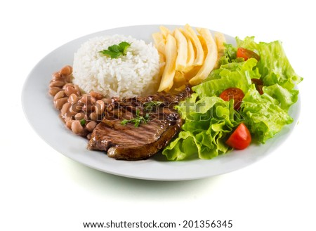 Typical dish of Brazil, rice and beans - stock photo