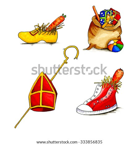 Typical Dutch culture with Sinterklaas objects isolated over white background - stock photo