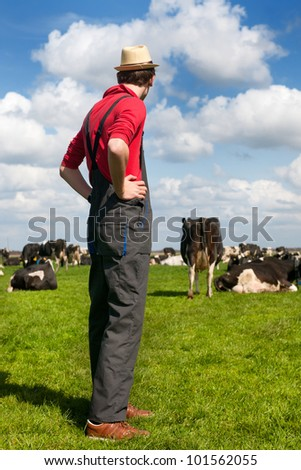 Typical Dutch landscape with farmer and black and white cows in the meadows - stock photo