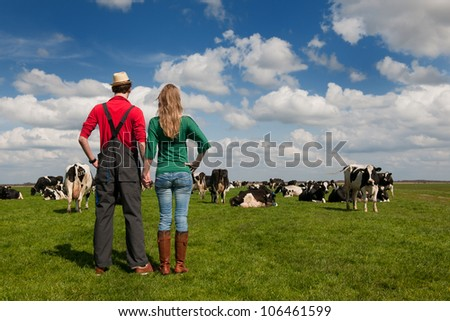 Typical Dutch landscape with farmers couple black and white cows in the meadows - stock photo