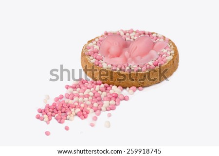 Typical Dutch mouse rusk with pink mice, for baby girl shower