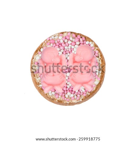 Typical Dutch mouse rusk with pink mice, for baby girls twin shower