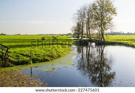 Typical Dutch polder landscape with low autumn sunlight. - stock photo