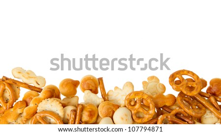 Typical dutch salty snack, isolated on white, room for text - stock photo