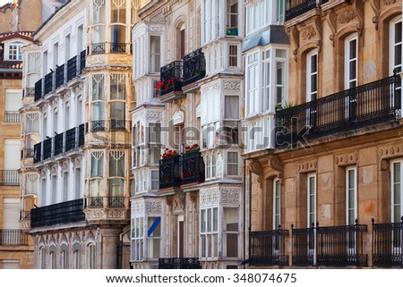 typical dwelling houses in historic part of  Vitoria-Gasteiz.  Basque Country, Spain - stock photo