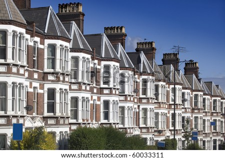 Typical English Houses at London. - stock photo