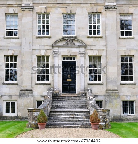 Typical English Mansion of the Georgian Era Architectural Style Built Circa 1720 - stock photo