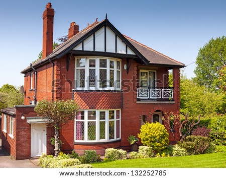 Typical english residential estate - stock photo