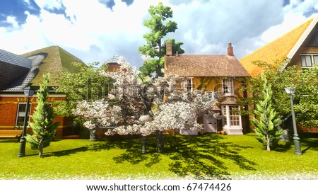 Typical English town in spring time - stock photo