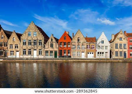 Typical European Europe cityscape view -  canal and medieval houses. Bruges (Brugge), Belgium - stock photo