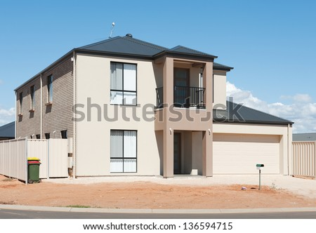 typical   facade of a modern and new australian house at noon - stock photo