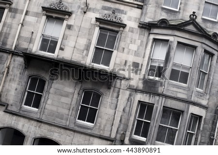 typical facades in Edingburgh - stock photo