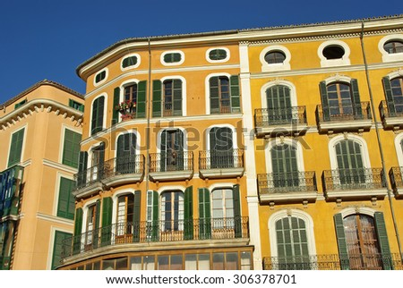 Typical facades in some houses of the inner city of Palma de Mallorca - stock photo