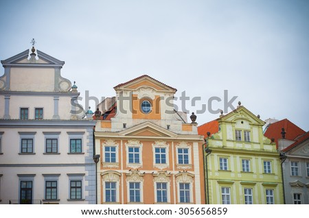 Typical facades of houses in the lower city center. Prague is considered one of the most beautiful cities in Europe and the historical center is on the UNESCO World Heritage List - stock photo