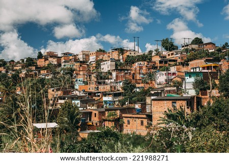 Typical favela in Salvador, Brazil. - stock photo