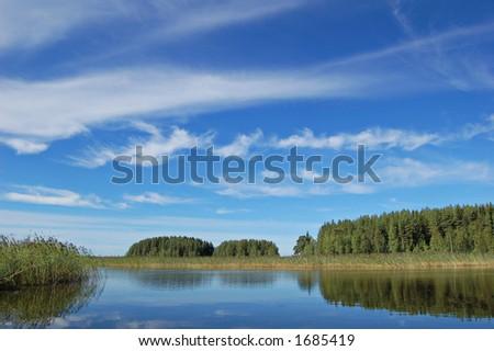 Typical Finnish lake scene - stock photo