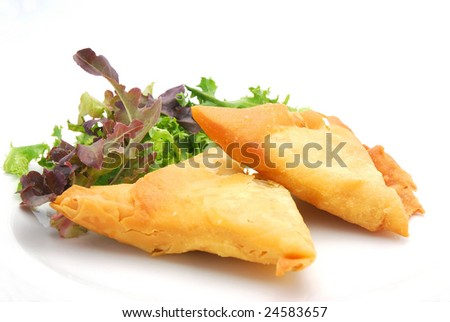 Typical food in South Africa: two traditional malay Samoosas (triangle-shaped pastries) stuffed with chicken and beef mince with lettuce on plate isolated on white background. - stock photo