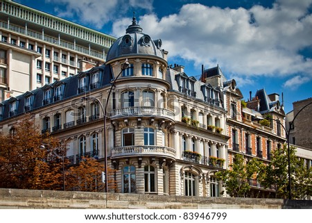 Typical french architecture facades, Paris, France - stock photo