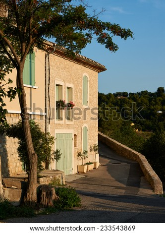 Typical French Provence architecture, stone houses in Grambois village, France - stock photo