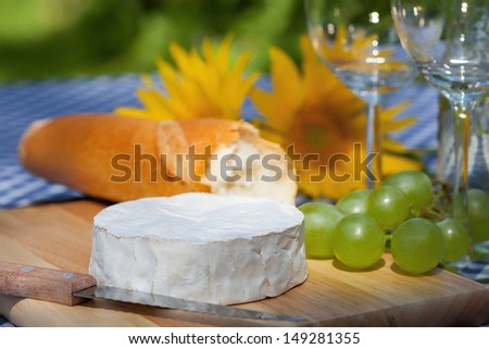 Typical French snacks; camambert, grapes and a baguette - stock photo