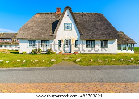 Typical Frisian house in Hornum village on southern coast of Sylt island, Germany
