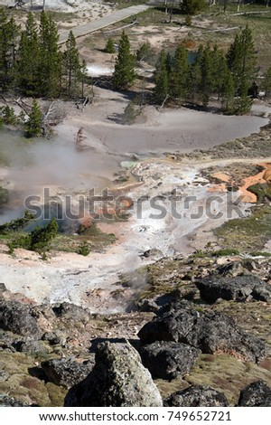 Typical geothermal volcanic activity at Yellowstone National Park in Wyoming including mud and paint pots as well as hot springs...a dangerous area to wander off the path.