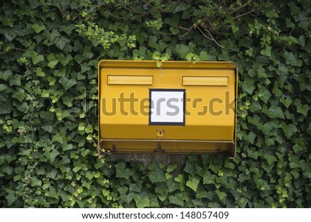 Typical German yellow letterbox on side of road overgrown with ivy and copy space on front. Concept could be used for environment friendly delivery or shipping - stock photo