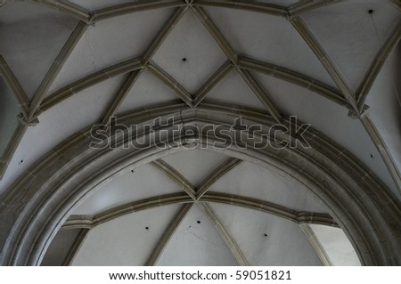 Typical gothic rib vault, architectural detail