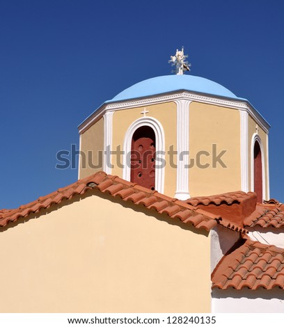 typical greek church in Zia village, Kos, Greece - stock photo