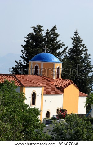 Typical Greek Orthodox church with blue domes on Kos.   Dodecanese. Greece - stock photo