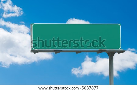 Typical green freeway sign ready for custom text - stock photo