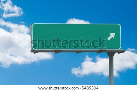 Typical green freeway sign with one arrow pointing toward the right, ready for custom text - stock photo