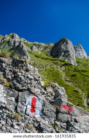 Typical hiking trail marked with red and white paint on a piece of rock - stock photo
