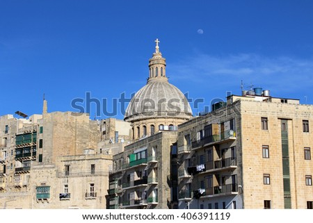 Typical House and Dome, Valletta, Republic of Malta  - stock photo