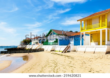 typical house Arcachon basin in the village of grass - stock photo