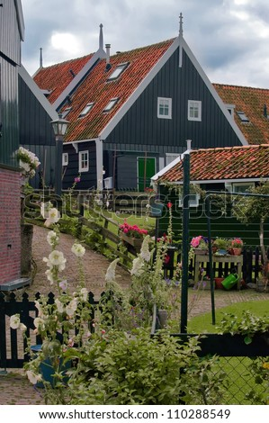Typical house in Marken, the Netherlands - stock photo