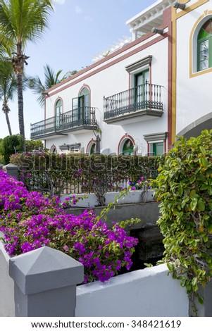 Typical house in Puerto de Mogan. Gran Canaria, Spain - stock photo