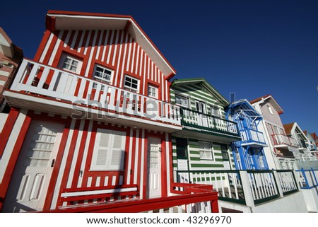 Typical house made of wood, Aveiro, Portugal - stock photo