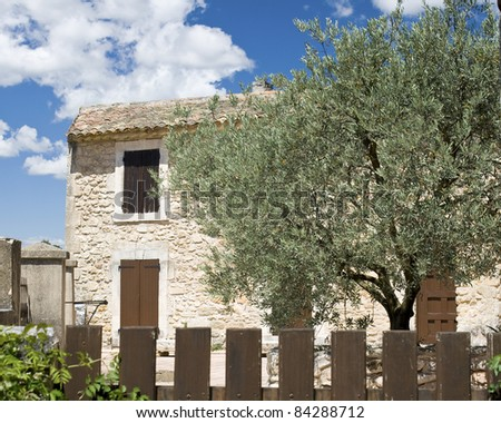 Typical house Provence, with olive tree. - stock photo