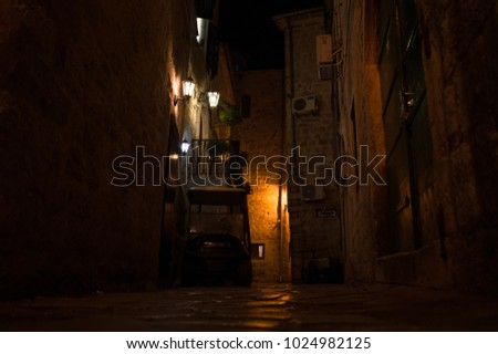 Typical Houses and Alley in the Old Town of Kotor at Night, Montenegro