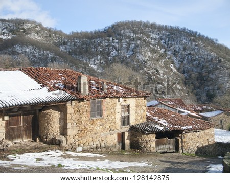 typical houses and ancient pots in Cantabria, Spain