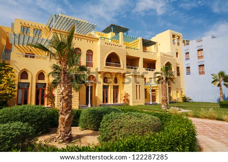 Typical houses in Abu Tig Marina. El Gouna, Egypt - stock photo