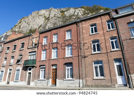 Typical houses in Dinant, Belgium - stock photo