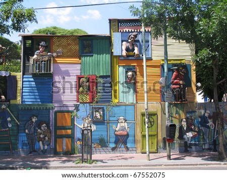 Typical houses in La Boca, Buenos Aires - stock photo