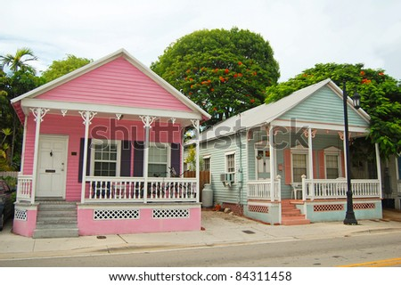 typical houses in the conch style architecture in Key West, Florida - stock photo