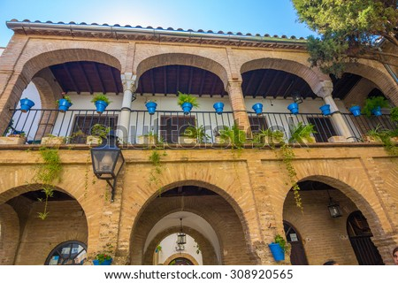 Typical houses in the tourist in the city of Cordoba, Spain - stock photo