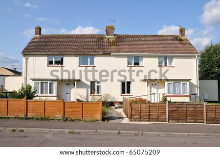 Typical Houses on a Council Estate in England - stock photo