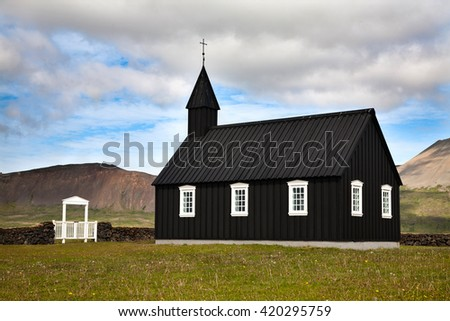 Typical Icelandic Lutheran wooden church in Budir, Snaefellsnes peninsula